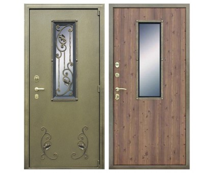 Дверь с окном и ковкой