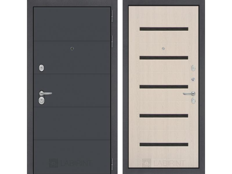 Входная дверь ART графит 01 - Беленый дуб, стекло черное