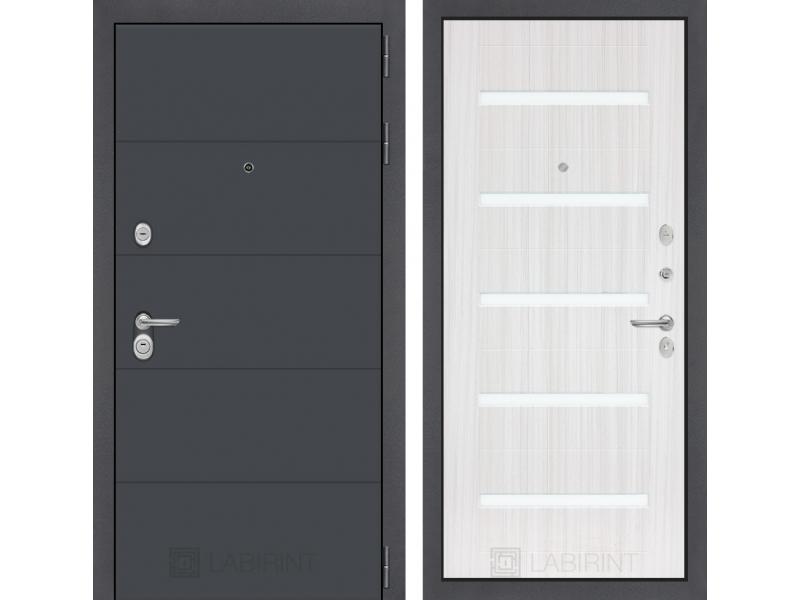 Входная дверь ART графит 01 - Сандал белый, стекло белое