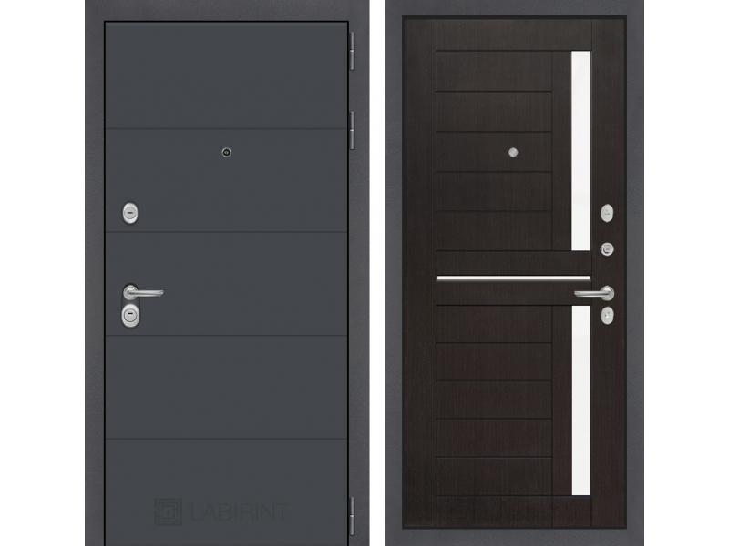 Входная дверь ART графит 02 - Венге, стекло белое