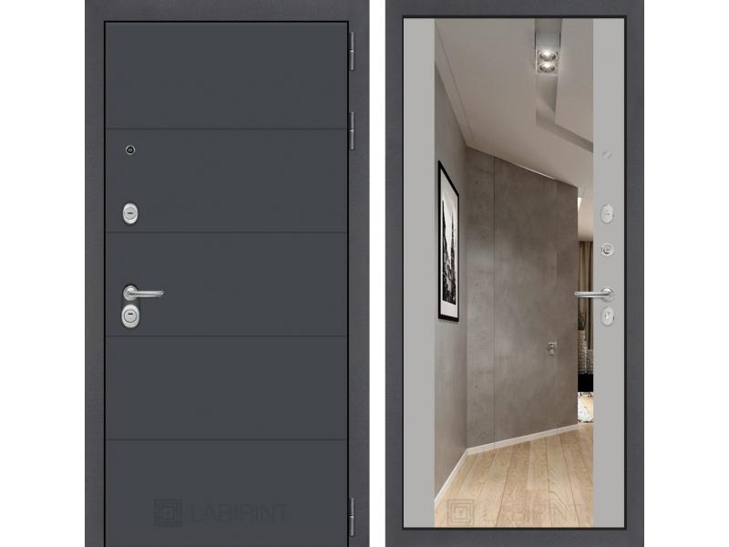 Входная дверь ART графит с Зеркалом Максимум - Грей софт