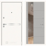Входная дверь Лайн WHITE с Зеркалом 19 - Грей софт
