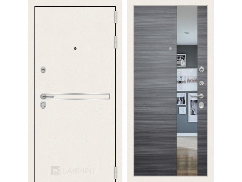 Входная дверь Лайн WHITE с Зеркалом - Сандал серый горизонтальный