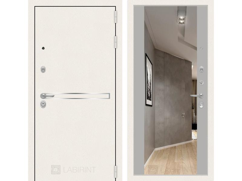 Входная дверь Лайн WHITE с широким зеркалом - Грей soft