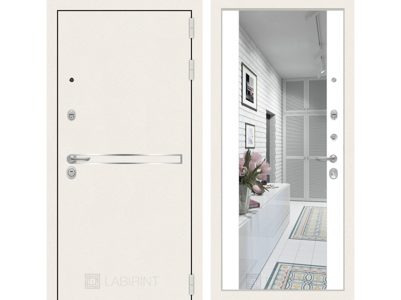Входная дверь Лайн WHITE с широким зеркалом - Белый soft