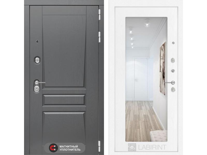 Входная дверь Платинум с Зеркалом 18 - Белое дерево