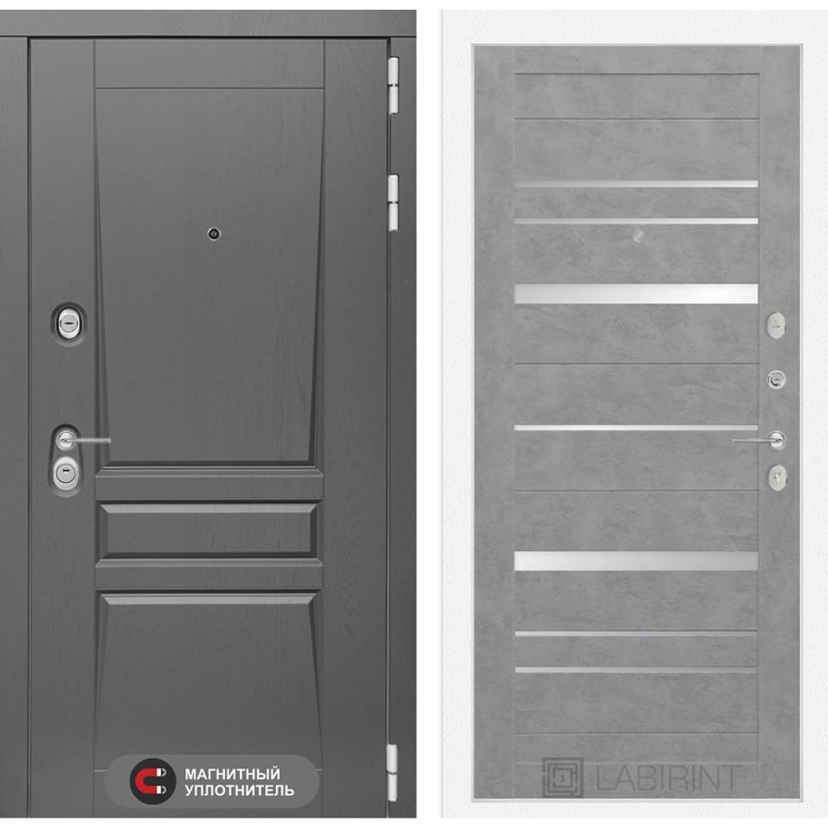 Входная дверь Платинум 20 - Бетон светлый, зеркальные вставки