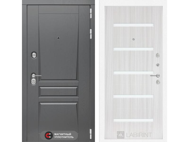 Входная дверь Платинум 01 - Сандал белый, стекло белое