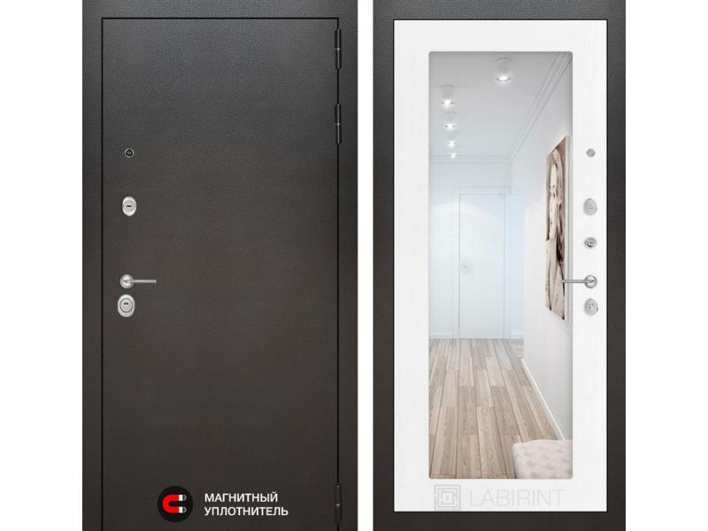 Входная дверь SILVER с Зеркалом 18 - Белое дерево