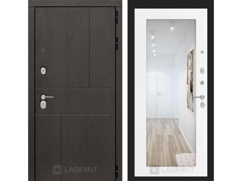 Входная дверь URBAN с Зеркалом 18 - Белое дерево